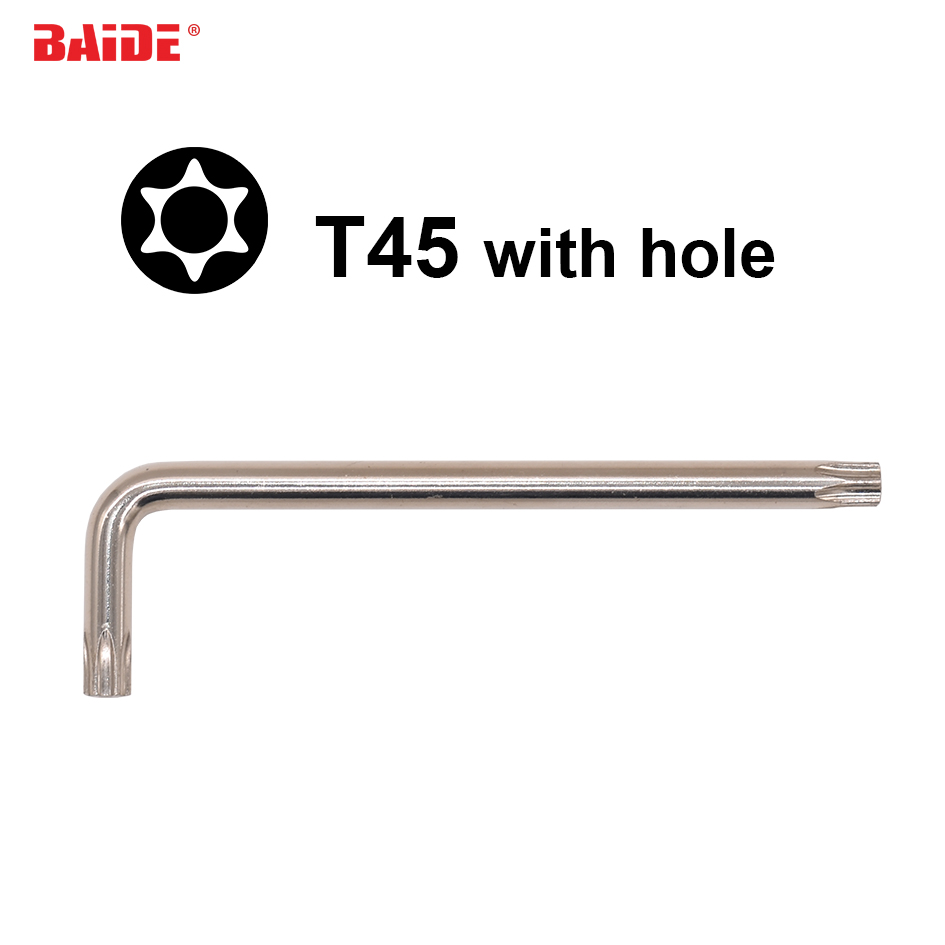 8*35*130mm Torx T45 L Key Screwdriver With Hole CR-V Steel Safety Screw Driver For Car Professional Repair Tool 100pcs/lot