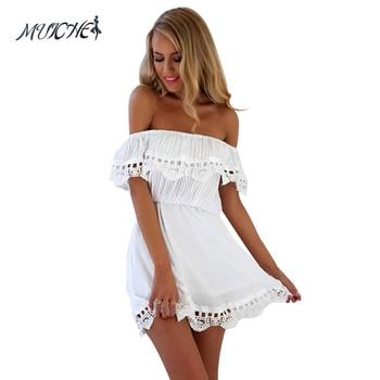 MUICHES Fashion women Elegant Vintage sweet lace white Dress stylish sexy slash neck casual slim beach Summer Sundress vestidos