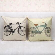 Europa Estilo Simplismo Impreso Funda de Cojín Vintage Bicicleta de Algodón de Lino Funda de Almohada Decorativa Throw Pillow Case Home Sofá Coche