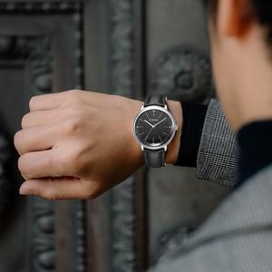 Image 5 - Fantor фирменные Классические минималистичные мужские кожаные светящиеся ручные повседневные деловые мужские кварцевые часы с коробкой