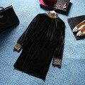 Vintage Elegant Dresses 2017 Spring Turtleneck New Fashion Solid Sexy Beading Sequined Black Velvet Dress