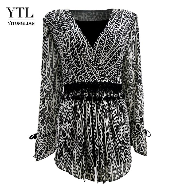 YTL Women Plus Size Clothing Elegant Polka Dot Lace Kimono Wrap Top Long Sleeve Cardigan Female Tunic   Blouse     Shirt   4XL 5XL H006