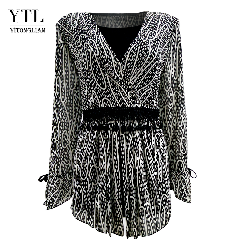 YTL Women Plus Size Clothing Elegant Polka Dot Lace Kimono Wrap Top Long Sleeve Cardigan Female Tunic Blouse Shirt 4XL 5XL H006