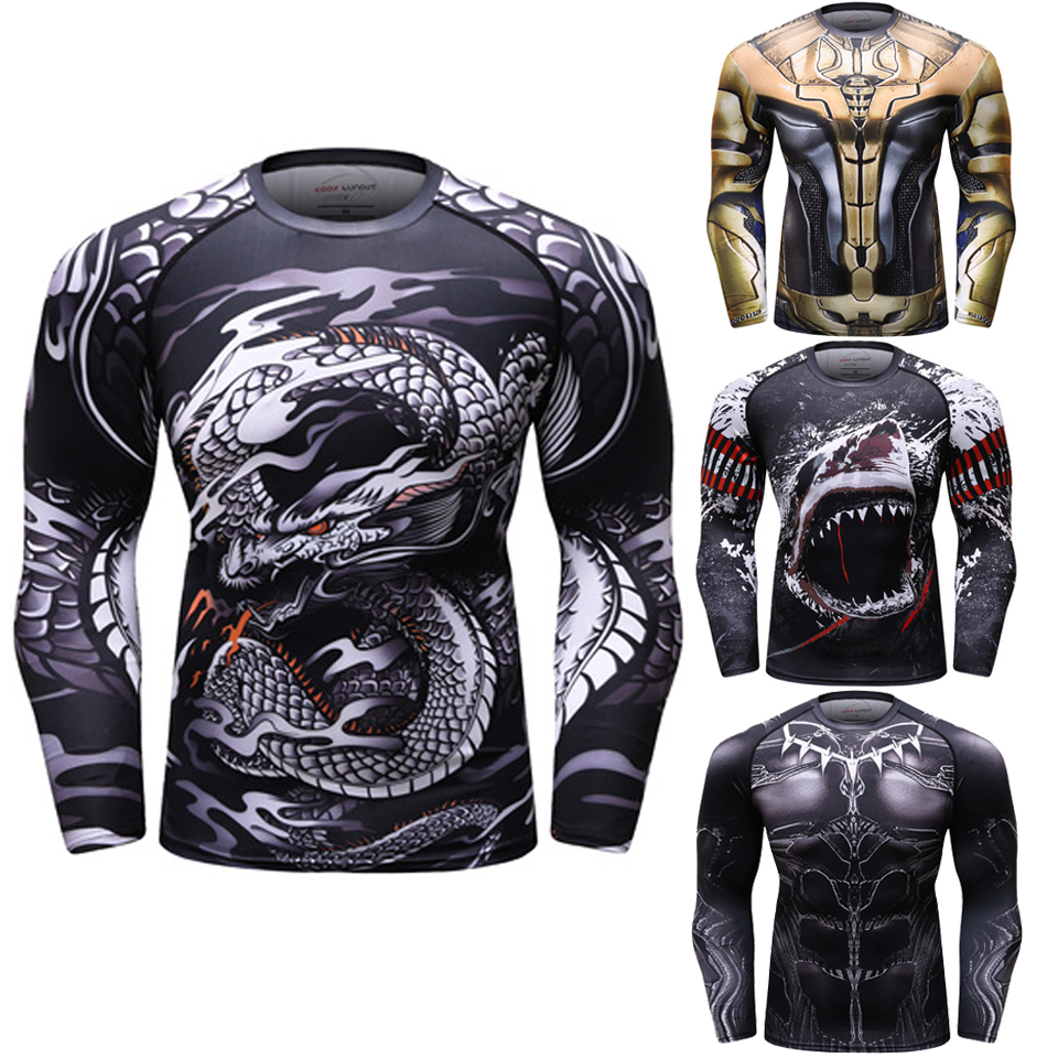 Snake Mma Rashguard Boxing Long Sleeve T Shirt Muay Thai Gi Jiu Jitsu Rash Guards Tops Bjj Men Kickboxing Jerseys Mma Shirt
