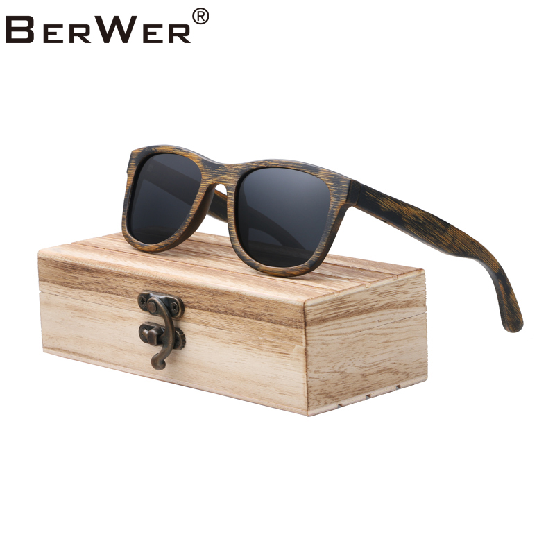 BerWer 4 Colors Polarized Bamboo Wood Sunglasses Women Men Mirror Coating Lenses Eyewear 2019