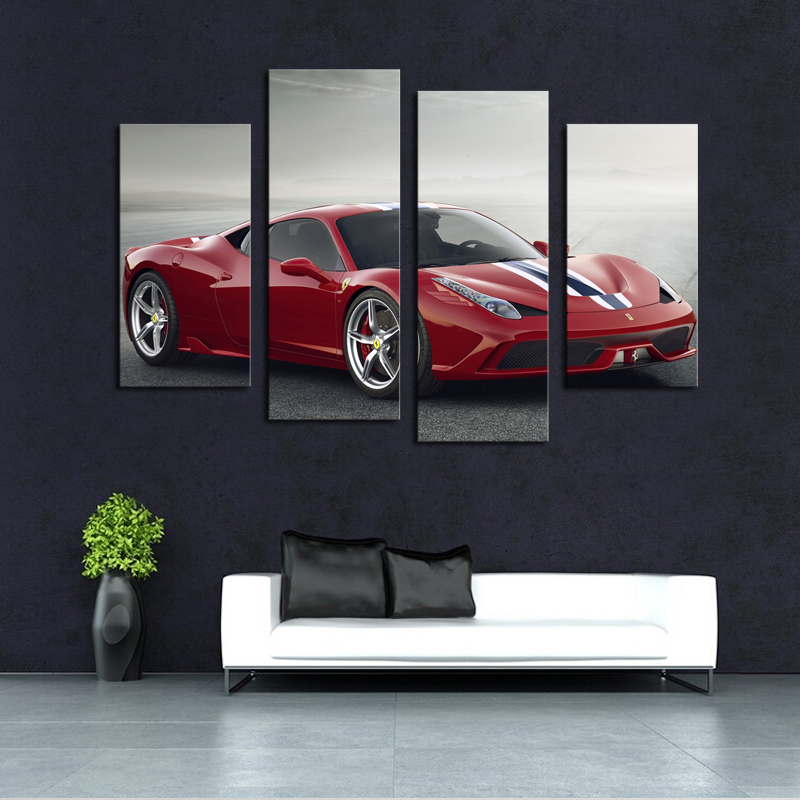 4 pcsno frame red sports car wall art picture ho