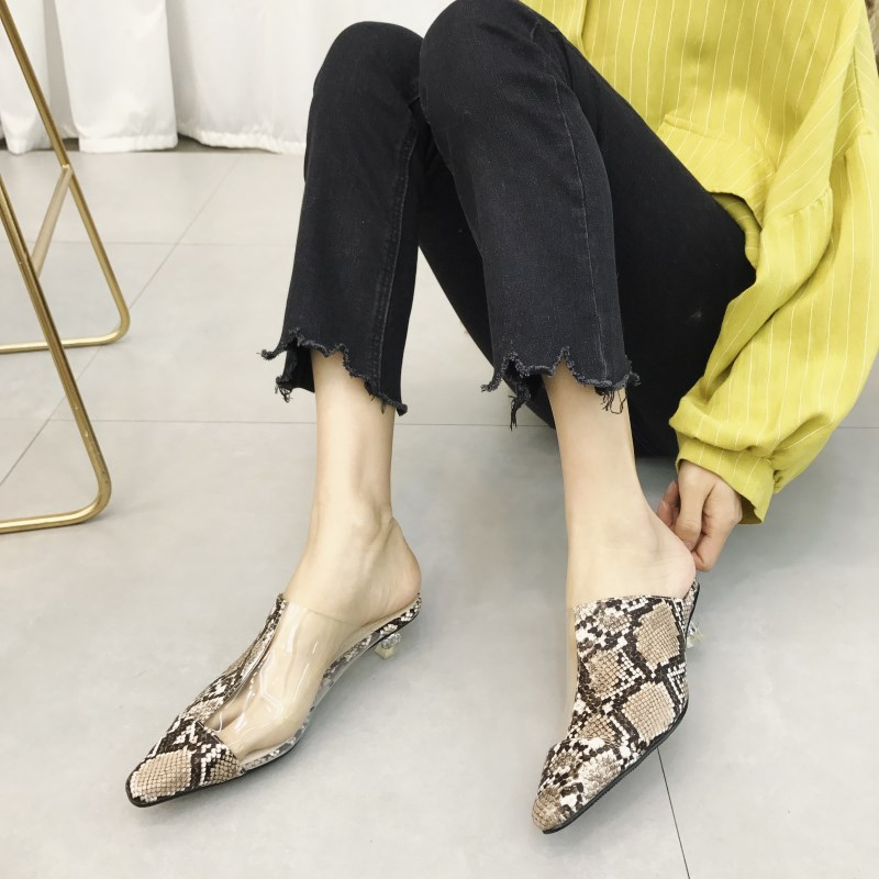 0ab8224d25b0 Women Slippers Fashion Pointed Toe Clear Transparent Low Heels Snake Print Mules  Shoes Women Flip Flops Comfortable Sandals