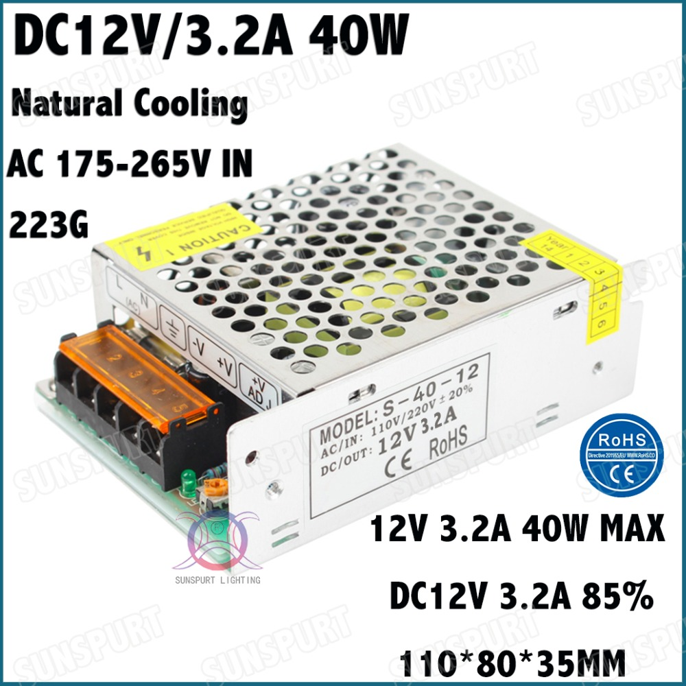 2 Pieces By CE EMC LVD ROHS <font><b>40W</b></font> AC175-265V LED Driver <font><b>12V</b></font> 3.2A Constant Voltage LED <font><b>Power</b></font> <font><b>Supply</b></font> For LED SMD Lamp Free Shipping image