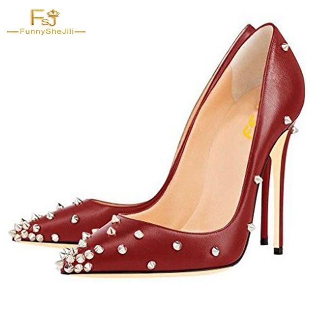 38d508edf5 Spring Women Rivets Shoes Pumps Red Black Burgundy Heels Pointy Toe  Stiletto Heel Studs Shoes Size 12 Wedding Dress Party FSJ