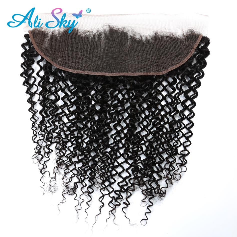 Alisky Hair Brazilian Kinky Curly Ear to Ear 13*4 Lace Frontal Closure Pre Plucked With Baby Hair 100% Human Remy Hair Frontal
