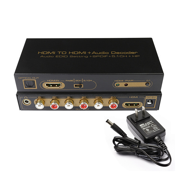 HDMI to HDMI + Audio Decoder SPDIF optical RCA Audio Edid Setting+Spdif+5.1CH+HP+3D Converter DVD HD Player PC CN016M1
