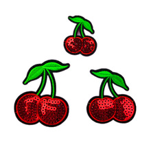 High Quality Sequins Fruit Cherry Beads Clothing Accessories Embroidery Patch
