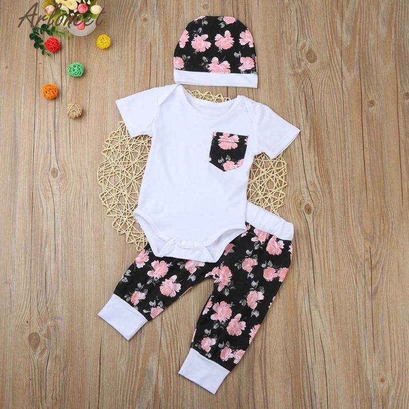 ARLONEET Baby Girl Clothes Newborn Baby Kid Girls Romper+Floral Pants+Hat Clothes Outfits Set E30 Jan05