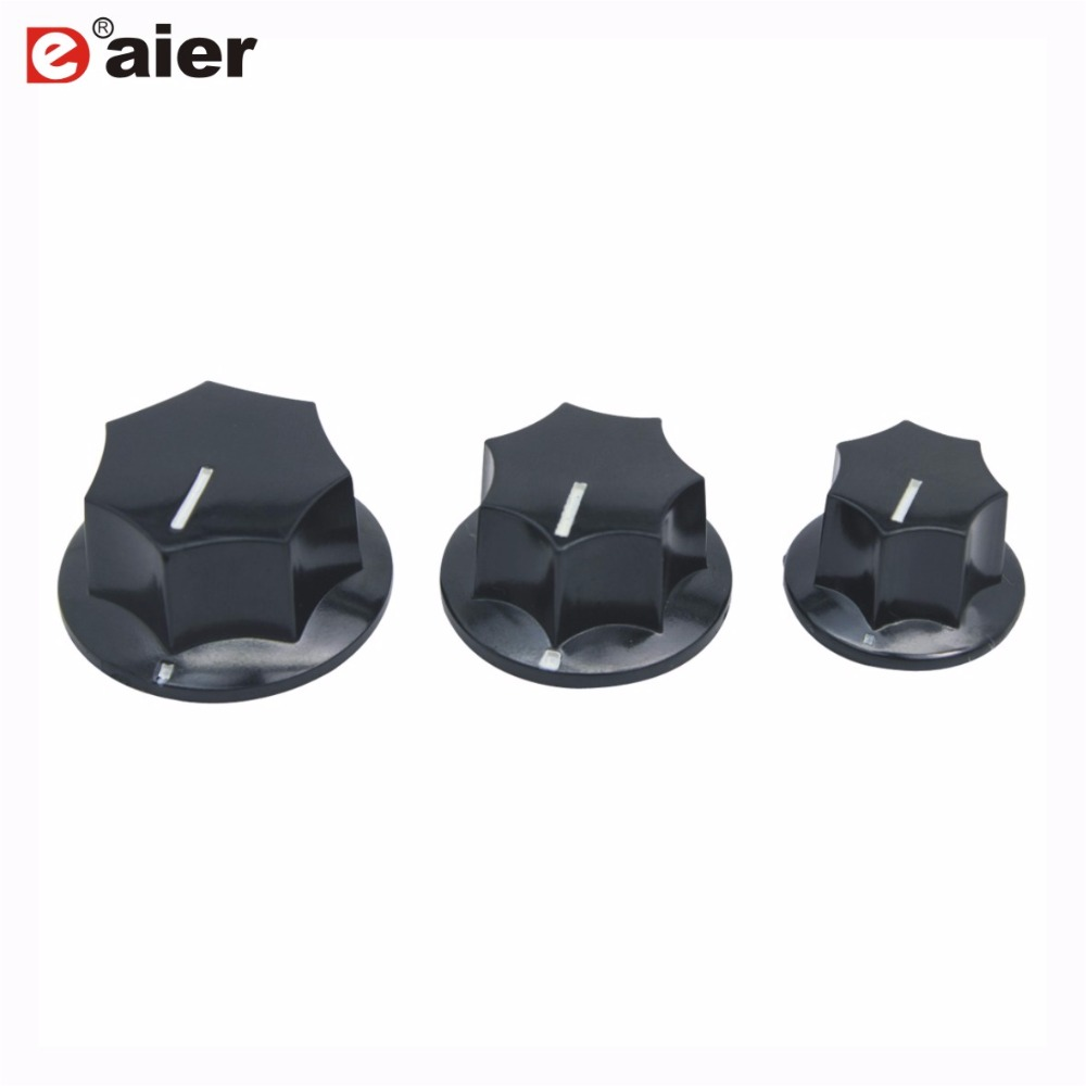 5PCS Black Turning Control Fluted Bakelite Knob With 6.35mm Shaft Hole Diameter Guitar Parts For Potentiometer Rotary