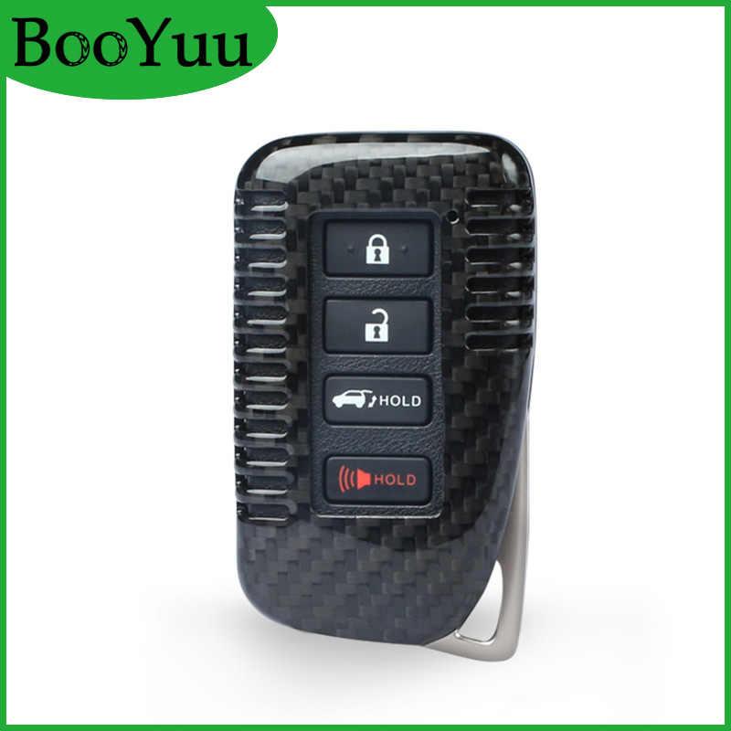 Booyuu Serat Karbon 4 Tombol Remote Kunci Mobil Kunci Shell Case Kunci Kunci Cover untuk Lexus ES GS LX RX gx Ini Ialah 2013-2018