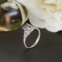 JEWELLWANG 18พันจริงทองคำขาวแหวนMoissanitesหมั้นแหวนสำหรับผู้หญิงแบรนด์1.0ctได้รับการรับรองเดิมเทพธิดากะ...