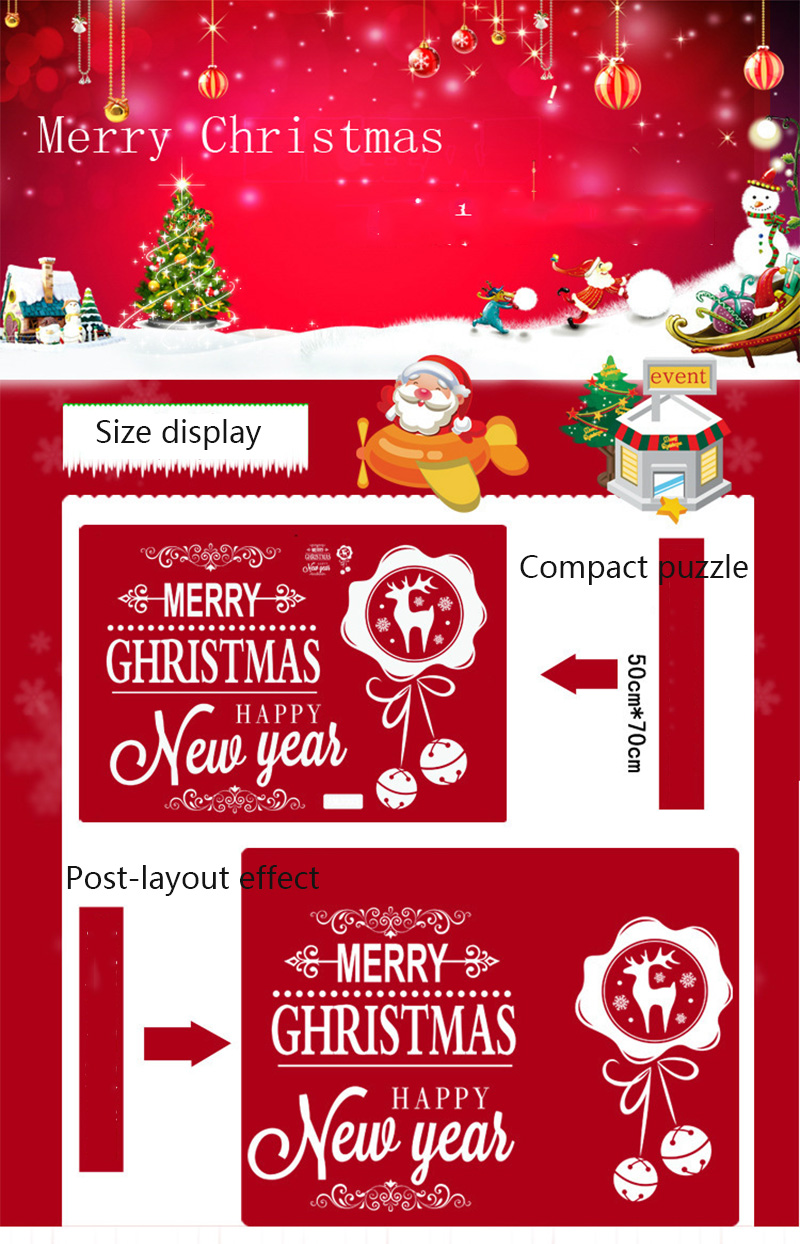 50x70cm 2019 Merry Christmas Decorations for Home New Year Shop Glass Window White Deers Bell Decorative Stickers Navidad Natal  (7)