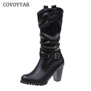 607ca2079bc COVOYYAR 2018 Cowboy Boots Autumn Winter Woman Shoes
