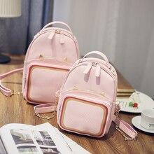 Новый дизайн моды все матч рюкзак constract цвета в корейском стиле с ушами cat ремешок-цепочка забронировать сумка школьная сумка