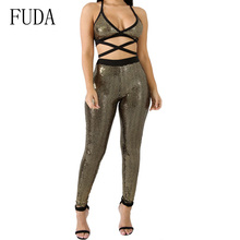 FUDA Bright Sexy Cross Backless Sleeveless Summer Playsuits High Quality Hanging Neck Wrapped Chest Jumpsuit Women Bodysuits