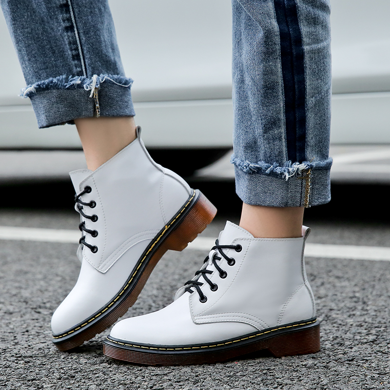 Genuine Leather Boots Women Ankle Boots Plus Size Shoes Woman Dr Martin Boots Femme 2018 Winter Fashion Booties Botas Mujer цена