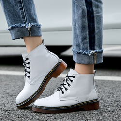 Genuine Leather Boots Women Ankle Boots Plus Size Shoes Woman Dr Martin Boots Femme 2018 Winter Fashion Booties Botas Mujer