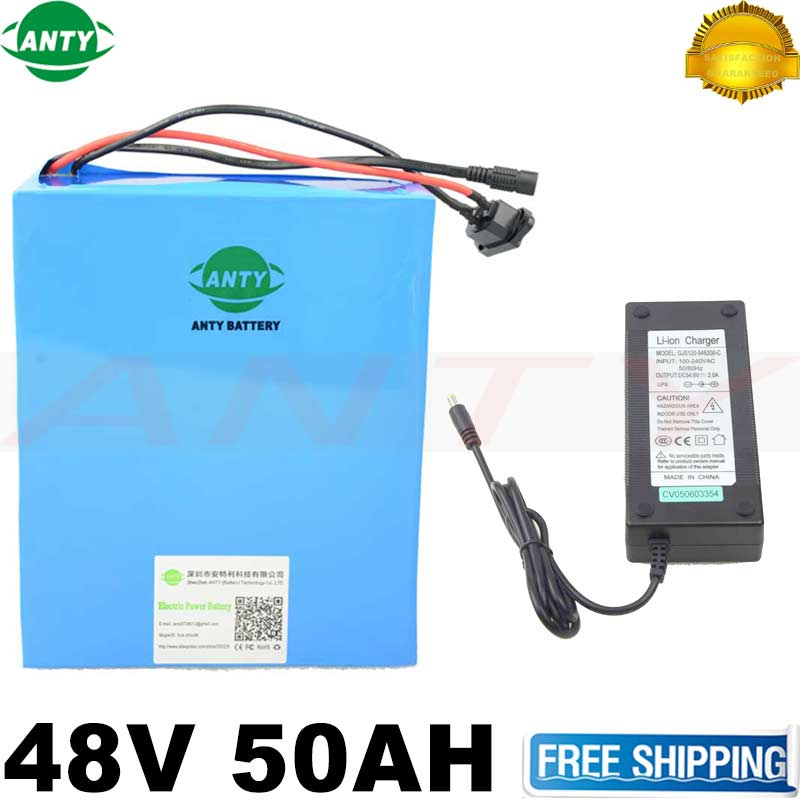 цены  eBike Battery 48V 50Ah 2000W Bafang Motor Electric Bicycle Battery 48V With 54.6V Charger 50A BMS Safe Lithium Battery Pack