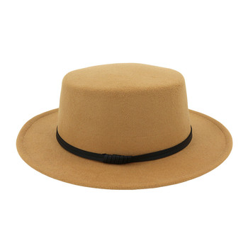 Womail Wide Brim Wool Belt Felt Flat Top Fedora