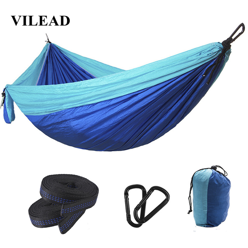 VILEAD 275*140 Camping Hammock Ultralight Portable Stable Outdoor Backpacking Travel Sleeping Bed Cot With 2 Straps 2 Carabiners-in Camping Cots from Sports & Entertainment