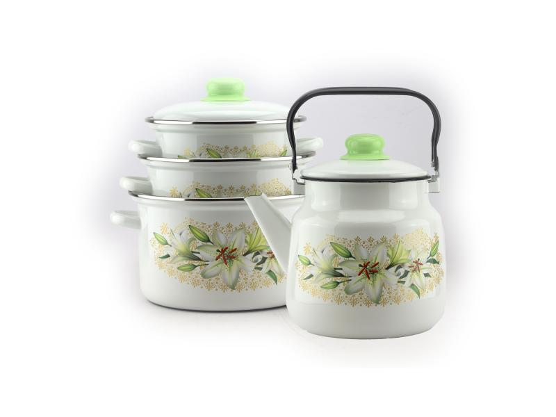 Set Enamel, White Lily, 8 items