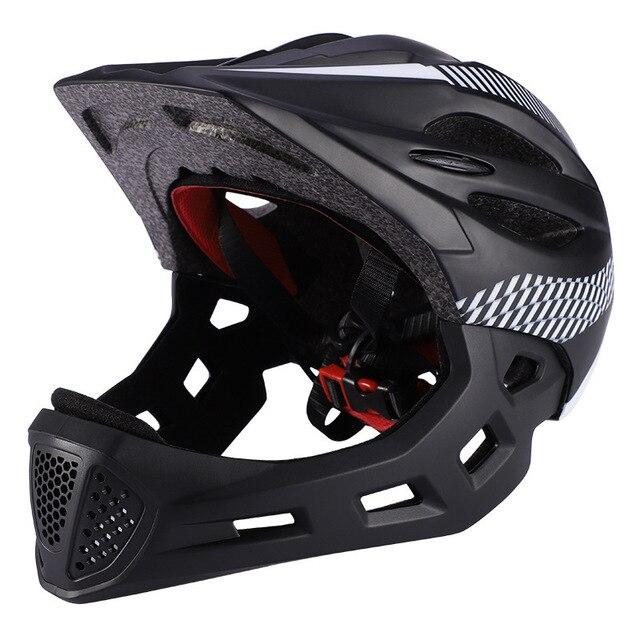 Crianças led rosto cheio mountain bike capacete equilíbrio bicicleta esportes segurança crianças completa coberto capacetes downhill scooter bmx criança 46-53cm 2