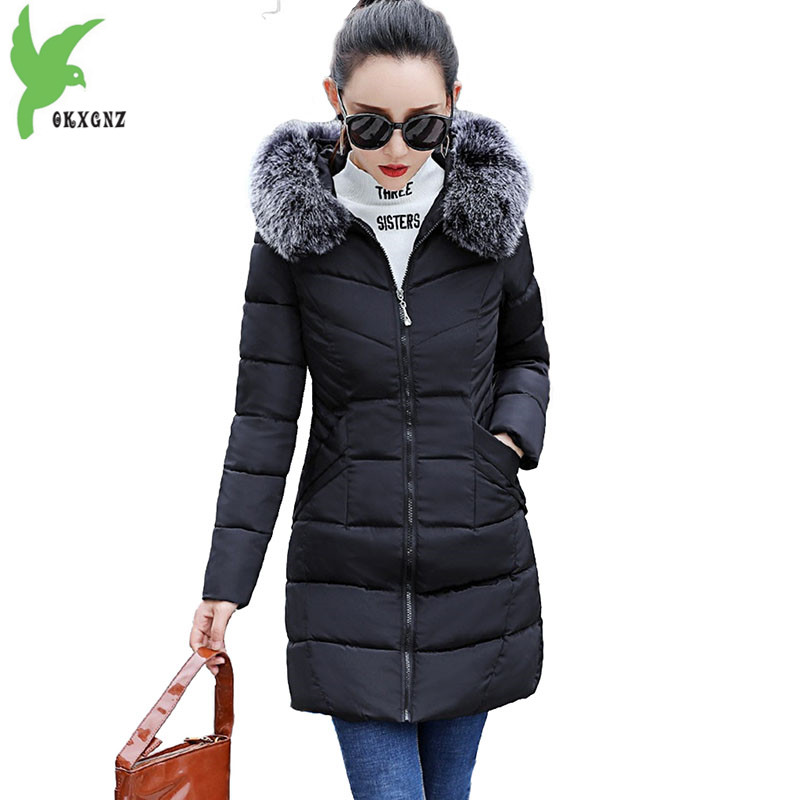 Cotton-padded jacket women winter   parkas   2018 new Fur collar hoodies tops Slim student coat Plus size female Down cotton jackets