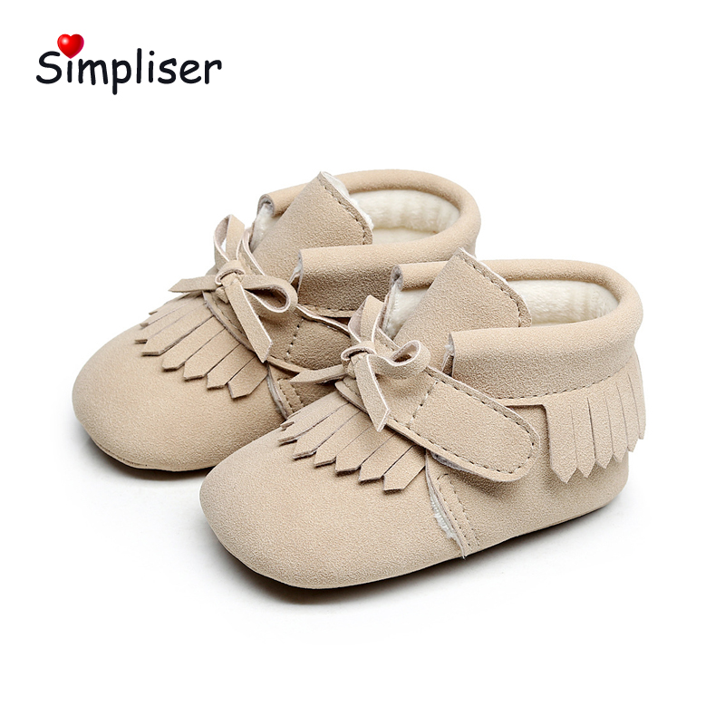 PU Leather Ankle Boot For Newborn Baby Prewalkers Plush Warm Toddle Shoes Girls Boys Footwear Winter Walking Booties Infant