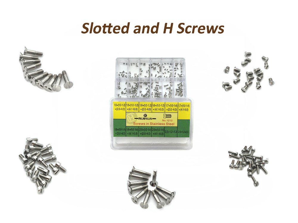 Slotted screws and H screws Stainless Steel Assorted Screws Watch Tools For Repairs Watch 12 Sizes