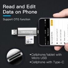 Vention All In 1 Usb 2.0 Card Reader High Speed SD TF Micro SD Card Reader Type C USB C Micro USB Multi Memory Otg Card Reader