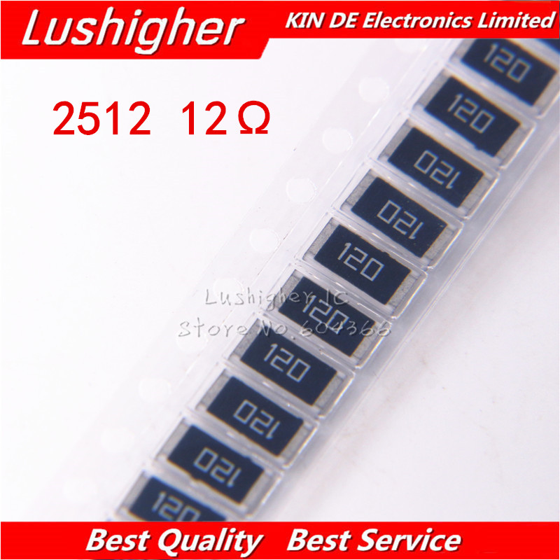 50PCS 2512 SMD 1W 5% 12R 12 Ohm 12OHM  120HM Marking: 120 Resistor