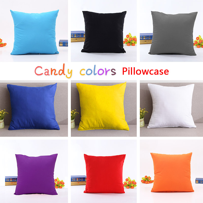 45*45CM Candy Color Pillow Case Solid Color Throw Pillow Cover Decorative Polyester Pillowcases Cover Home Living Room Bedroom