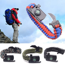 Outdoor Knife Survival Bracelets Camping Rescue Parachute Cord Compass Bracelets & Bangles Wristband Emergency Kits