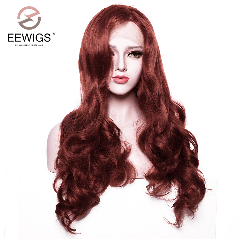 Synthetic Body Wave Wigs Lace Front Wigs Copper Red Wig Half Hand Tied Heat Resistant Costume Wig For Women Hairstyle 180%