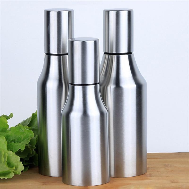 Botella de aceite de oliva de acero inoxidable a prueba de fugas A prueba de polvo Vinagre de salsa de soja Almacenamiento de condimentos Herramientas de cocina de cocina 500/750/1000 ml