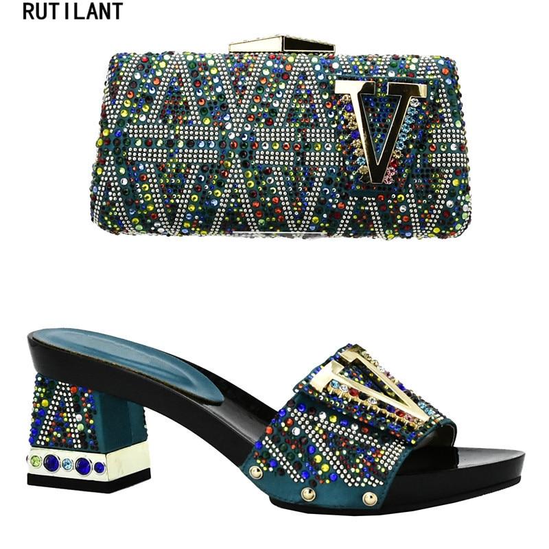 6af22096aaf6a2 Haute Et Qualité Nigérian Arrivée Nouvelle Les argent Chaussures or Sacs  Noir Green rose Femmes dark ...