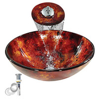 Red Wave Tempered Glass Vessel Kitchen Wash Basin Sink Set With Waterfall Faucet Pop Up Drain