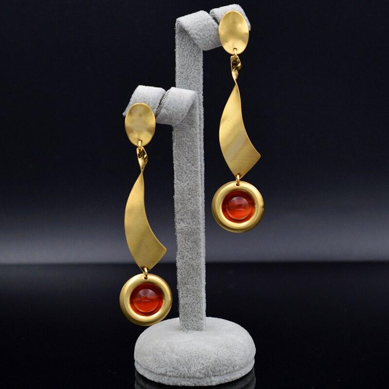 1748890d42cb2 Sunny biżuteria biżuteria 2019 długi spadek dynda kolczyki damskie wysokiej  jakości okrągłe symulowane Opal dla Wedding Party codzienne