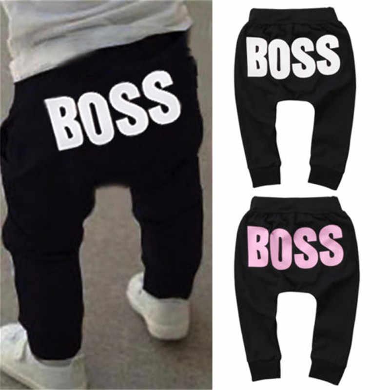 f1add1d7ccb65 Toddler Kids Baby Boy Girl Clothing BOSS Letter Print Harem Pants Sweat  Joggers Elastic Bottoms Leggings