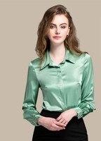 Шелковый цветок цвет темперамент с длинными рукавами женские большие размеры рубашка Весна шелковый лацкане рубашки 5 зеленый