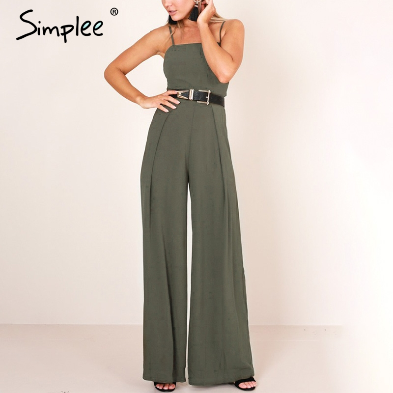 Simplee Sexy floral print strap backless   jumpsuits   women Solid tie up bow flare opening playsuits Summer beach loose   jumpsuit