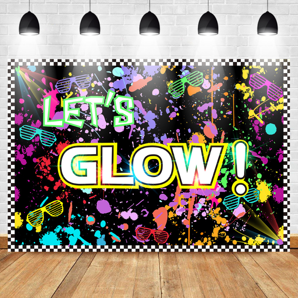Mehofoto Glow Neon Party Vinyl Photo Background Photophone Let 39 s Glow Splatter Photography Backdrops Studio Shoots background in Background from Consumer Electronics