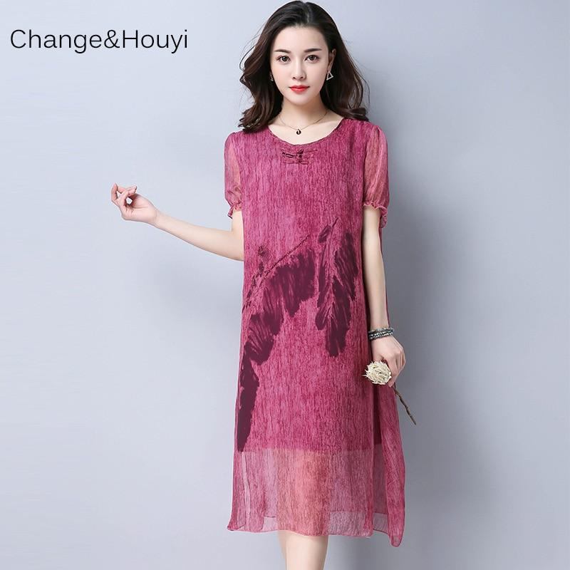 2017 New Fashion Summer Women's O-Neck Chiffon Print Dresses Women Casual Straight Loose Nature Plus size Mid-Calf Silk Dress