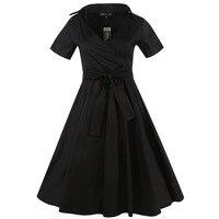 Sisjuly Women S Vintage Dresses 2017 Autumn Solid Black Red Dark Bule V Neck Short Sleeve