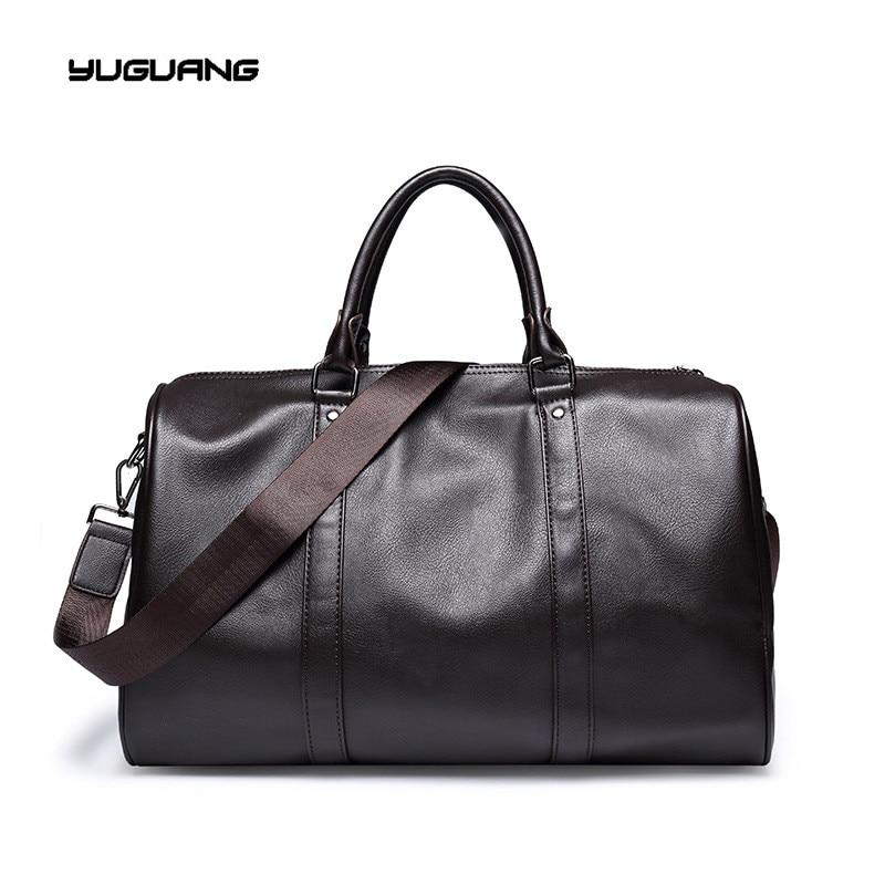Fashion mens font b leather b font travel bag vintage duffle font b handbags b font
